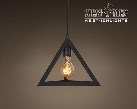 Custom Made Westmenlights Vintage Industrial Rustic Triangle Pendant Light Fixture Hanging Edison Shadow Lamp