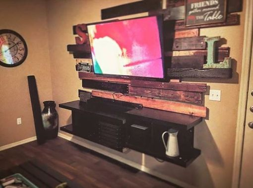 Custom Made Rustic Floating Media Console