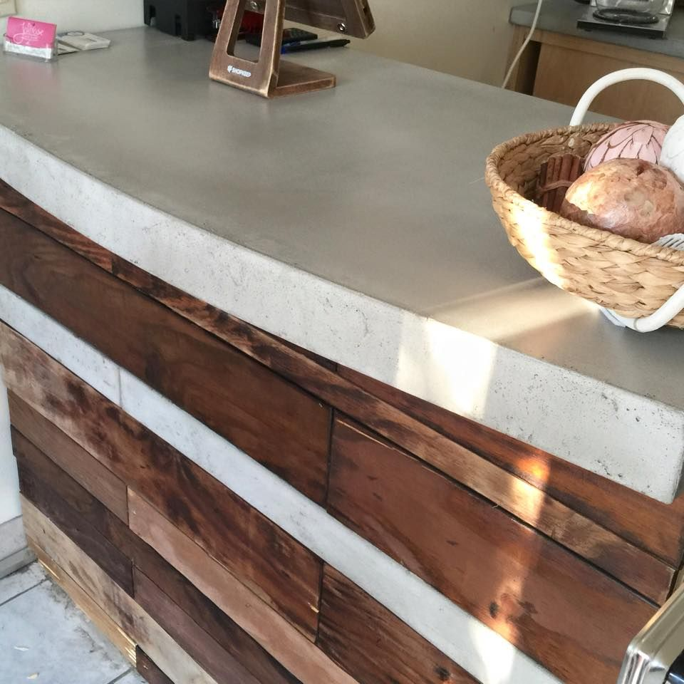 Buy A Hand Made Reclaimed Wood And Concrete Reception Desk