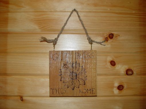 Custom Made God Bless This Home Wood Burning Plaque