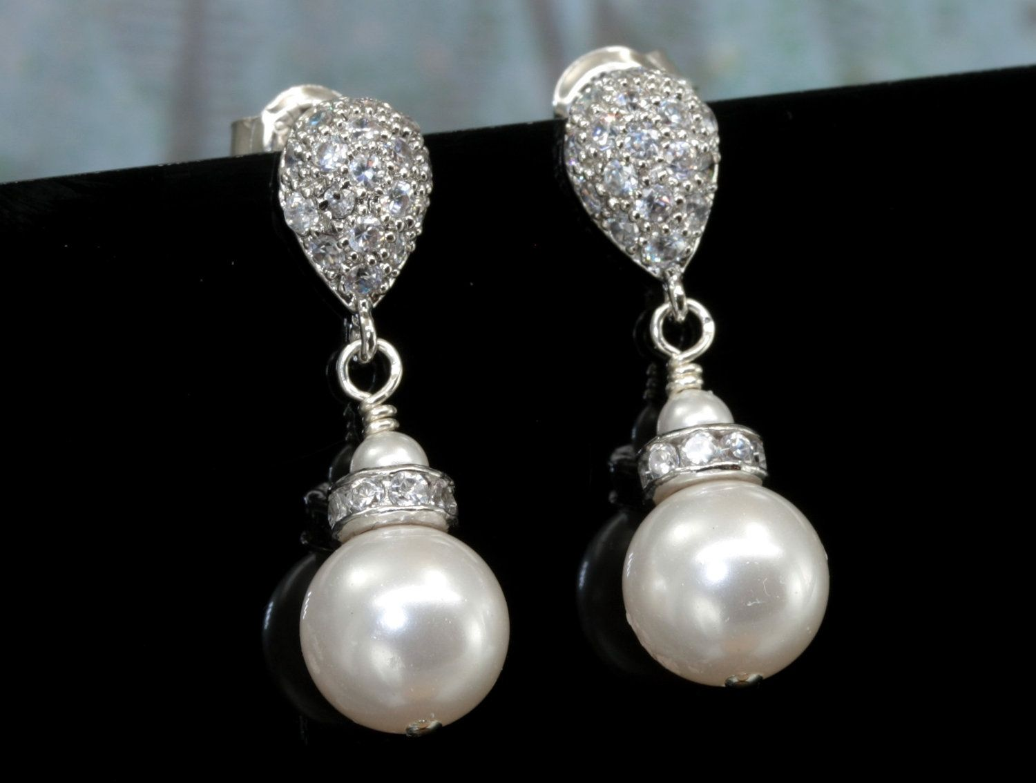 Custom Made Bridal Pearl Earrings Simple Drop On A Teardrop Stud