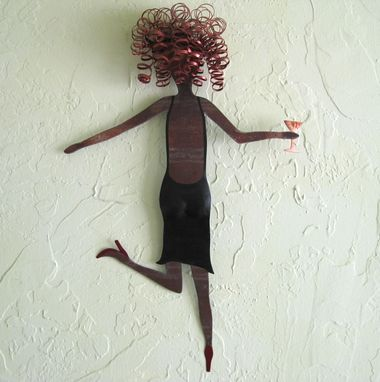 "Custom Made Handmade Upcycled Metal Lady With Martini Wall Art Sculpture ""Marlene''"