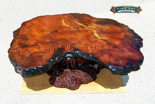 Custom Made Live Edge Wood Slab Redwood Burl Table With Amber And Gold Inlay