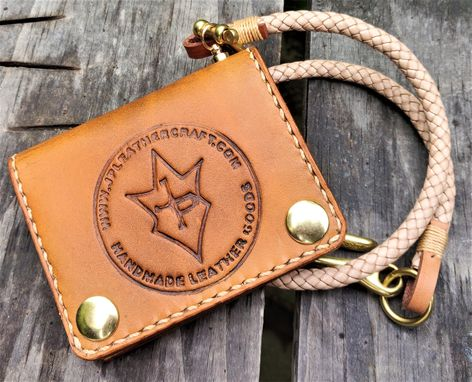 Custom Made Handmade Leather Biker Wallet Raeda Vegetable Tan Natural With Braided Chain Jp Leathercraft