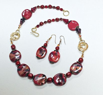 Custom Made Imported African Kazuri Bead And Swarovski Crystal Set