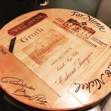 Custom Made Lazy Susan Wine Crate Panel Napa Valley Rare Large 20 1/2 Groth Center