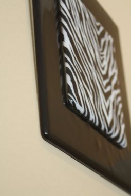 Custom Made Fused Glass Wall Art- Square Zebra