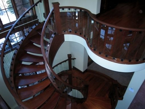 Custom Made Custom Open Wood And Glass Staircase