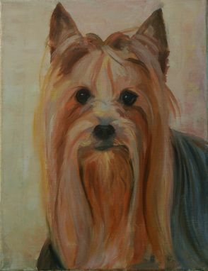 Custom Made Yorkie Dog Portrait Painting