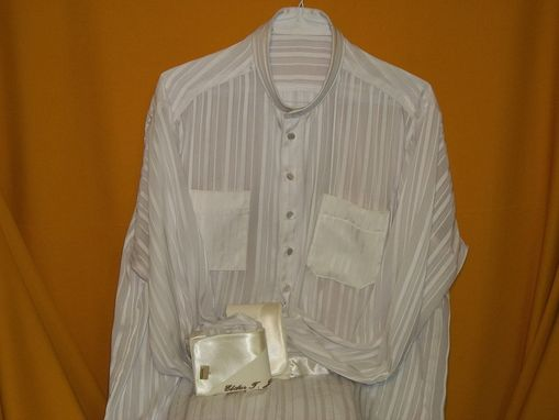 Custom Made Man's Custom Made Silk Jacquard Striped Na Ru Shirt W/ Satin Enhanced Monogrammed French Cuffs