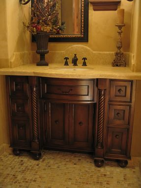 Custom Made Custom Distressed Alder Bow Front Bathroom Vanity