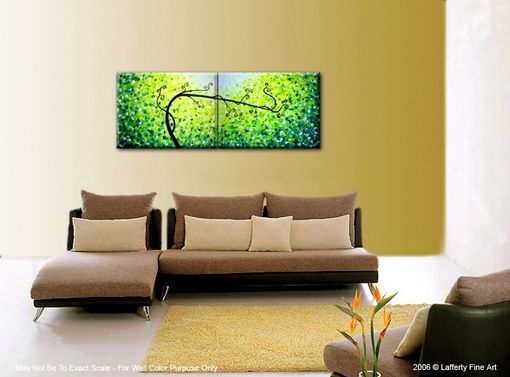 Custom Made Original Tree Painting, Large Abstract Trees, Contemporary Fine Art, Green Yellow Landscape