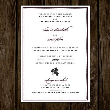 Custom Made Napa Wine Wedding Invitations