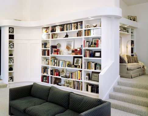 Custom Made Modern Bookcases And Wet Bar
