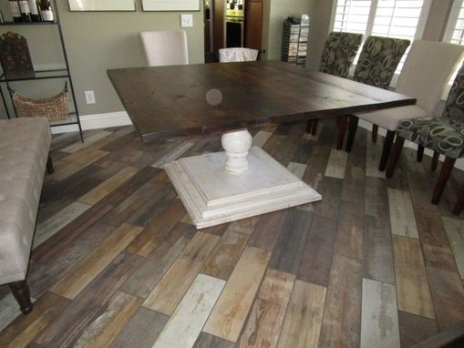 Custom Made Square Dining Room Table With Tiered Tuscany Pedestal Base