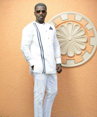 Custom Made White Long Sleeves And Trousers Men's African Clothing; Men's Wear; Men's Outfit