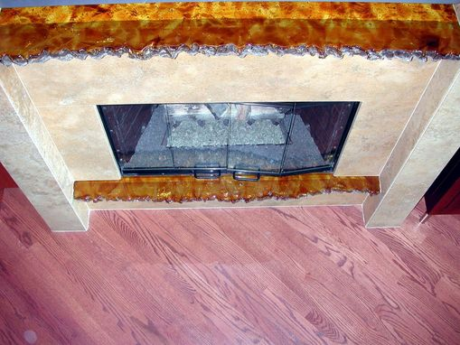 Custom Made Cast Glass Amber Fireplace Mantle