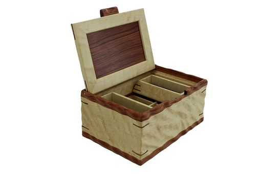 Custom Made Sculpted Men's Valet & Watch Box | Solid Birdseye Maple And Bubinga
