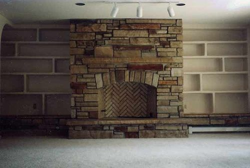 Custom Made Colorado Buff Strip Stone With Stained Faced Fireplace