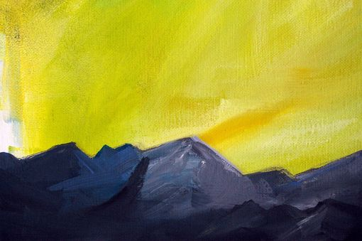 Custom Made Almost Home - Mountain And Cloud Painting In Lime And Charcoal
