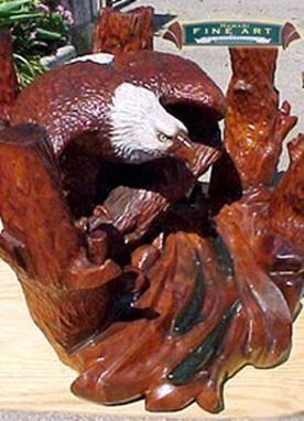 Custom Made Wood Carved Eagle And Trout Stream Dining Table,