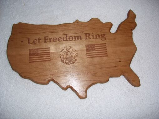 Custom Made Let Freedom Ring Lazer Printed Into The Plaque Made From Cherry