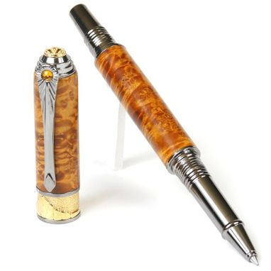 Custom Made Lanier Art Deco Rollerball Pen - Yellow Box Elder - Ar6w16