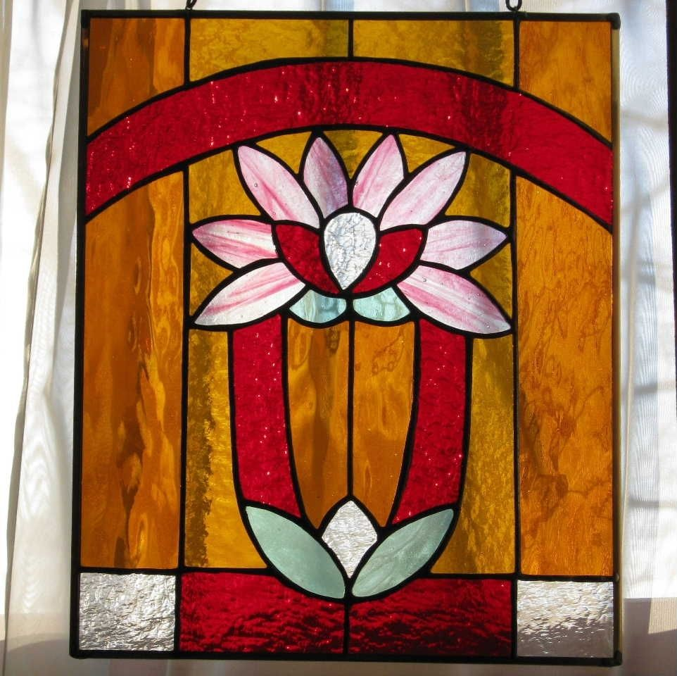 Handmade Art Deco Lily Stained Glass Window By Windflower