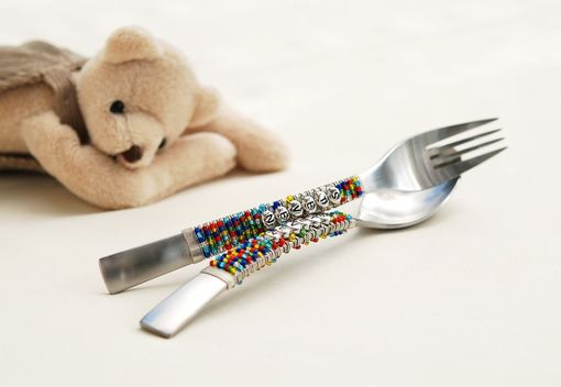 Custom Made Personalized Childrens Spoon And Fork Set Hand Beaded Choose Your Colors