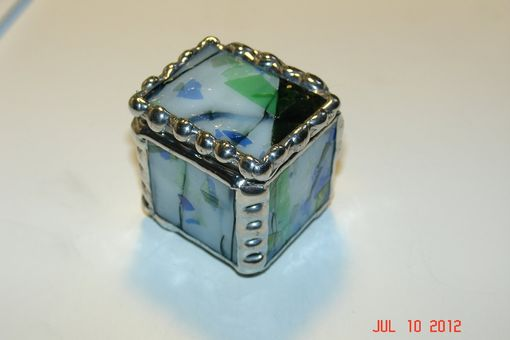 Custom Made 1 X 1 X 1 Tiny Ring Stained Glass Box In Blue And Green Fractured Glass
