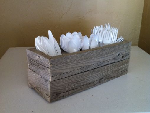 Custom Made Reclaimed Barnwood Utensil Holder