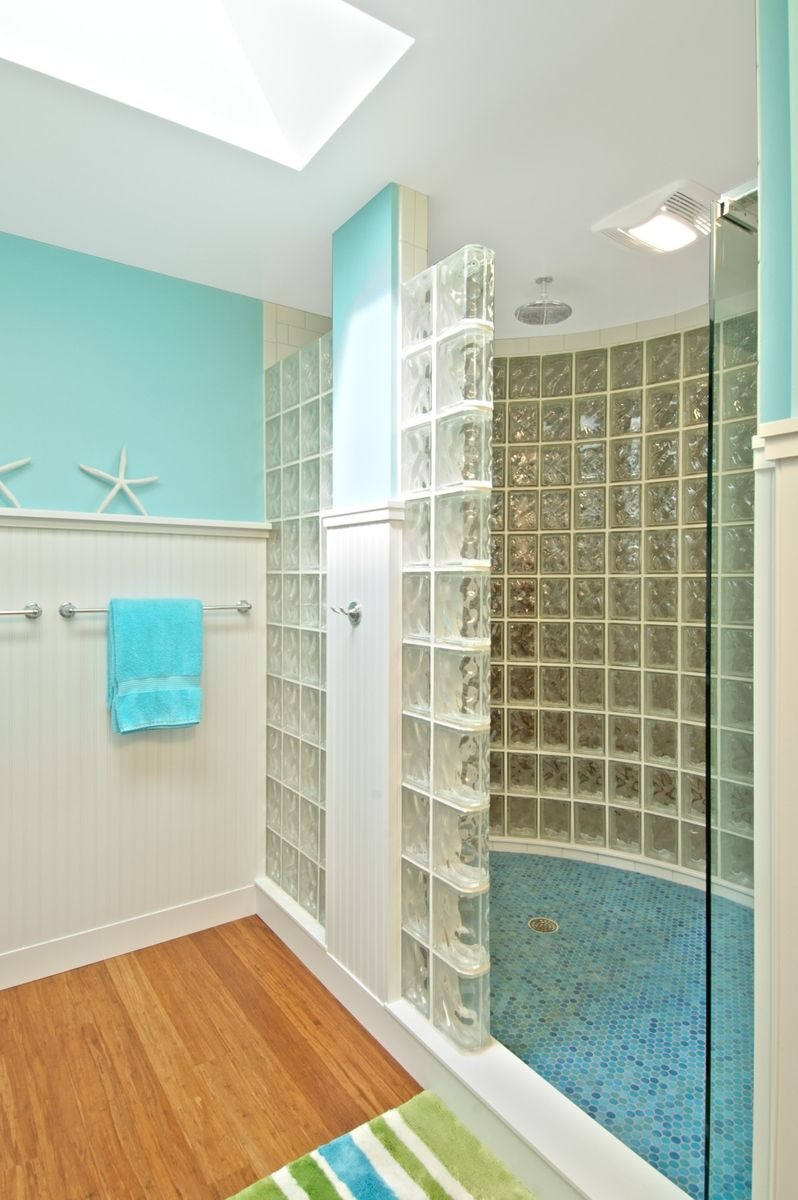 Custom Glass Block Shower With Straight And Curved Walls by Columbus ...