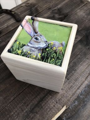 Custom Made Handpainted Thoughtful Bunny Small Box