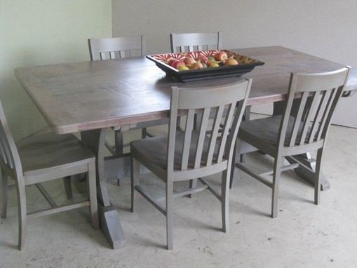 Custom Made Trestle Dining Room Table With  Driftwood Finish