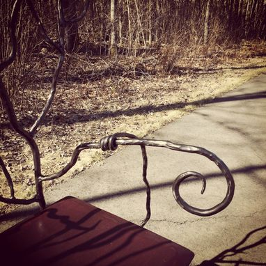 Custom Made Hand Forged, Twisted Branch Iron Bench.