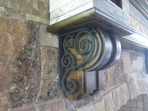 Custom Made Salvaged Barnwood Fireplace Mantel With Wrought Iron Scrolling