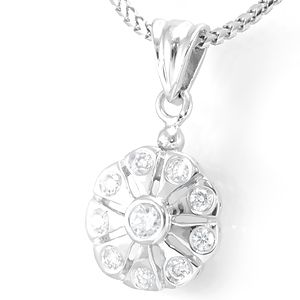 Custom Made Unique Diamond Pendant In 14k White Gold, Circle Pendant, Flower Pendant