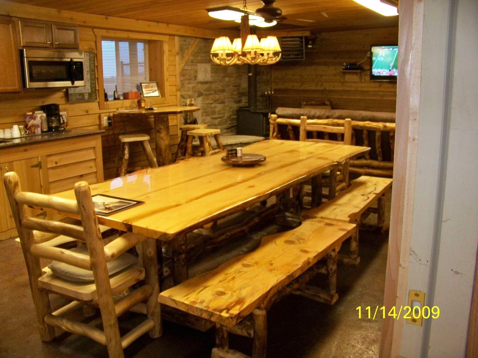 Custom Made Rustic Aspen Log Built Dinning Room Table Sets
