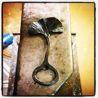 Custom Made Gingko Leaf Bottle Opener Hand Forged Elegant Modern Rustic