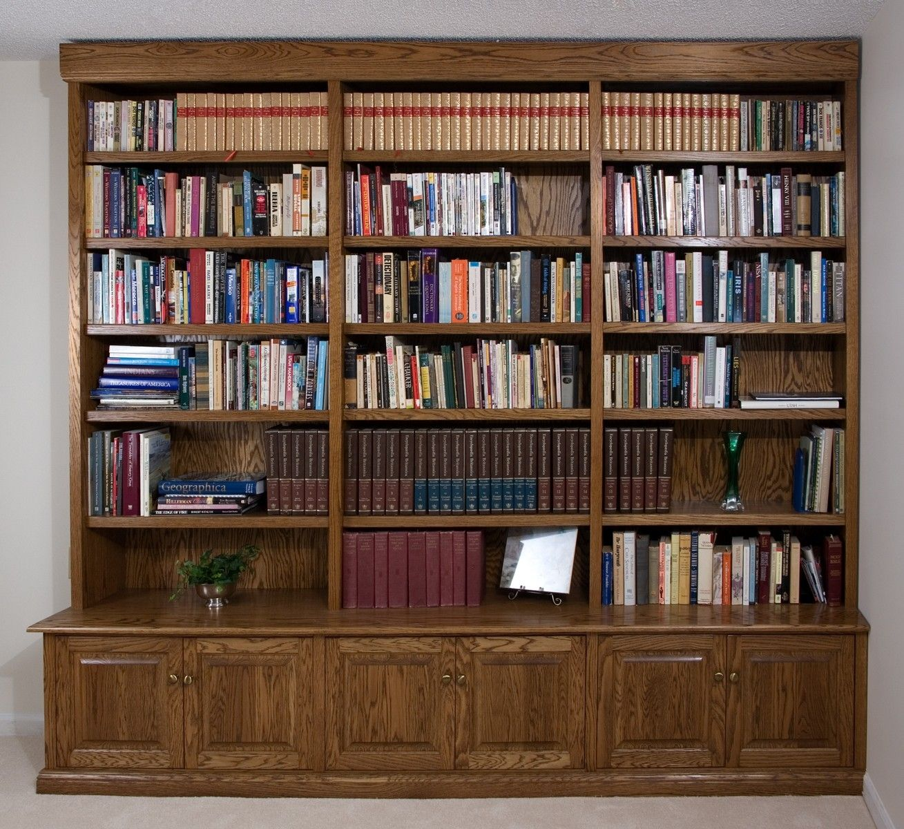 Hand Crafted Build In Oak Bookcase By Downing Fine