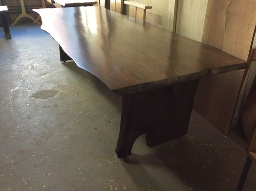 Custom Made Live Edge Butternut Industrial Style Dining Table