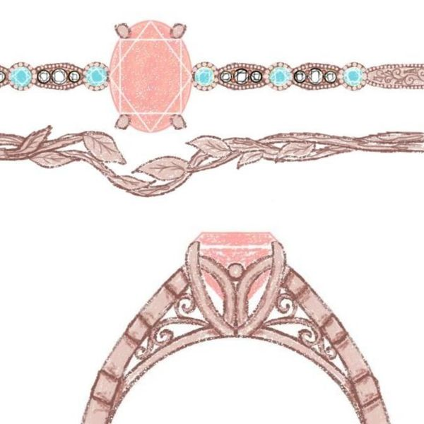 Sketches for an elegant vintage-inspired bridal set, using aquamarine accents for a soft blue accent to the morganite and rose gold.