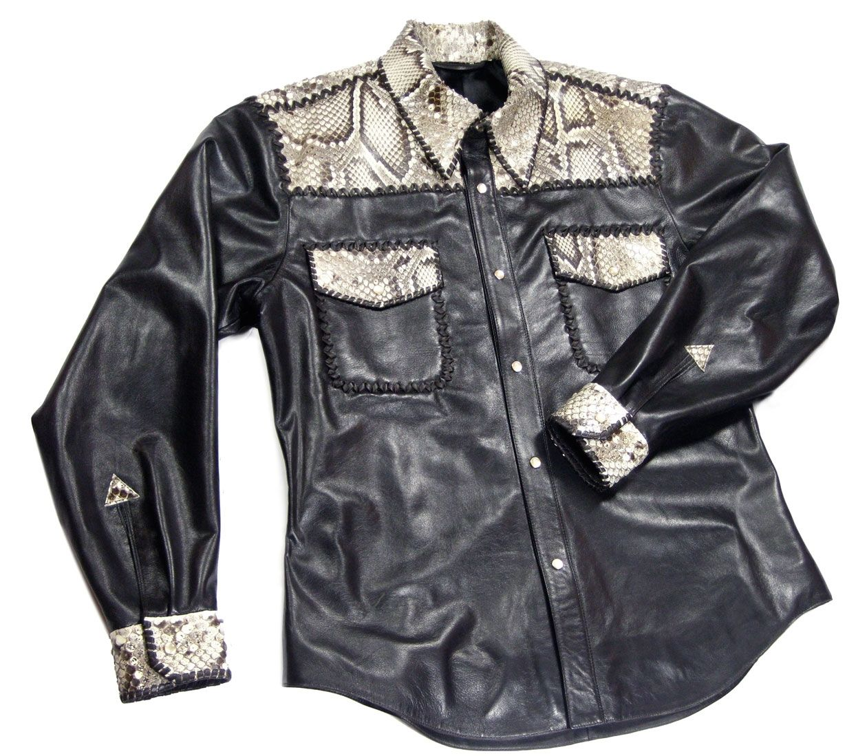 99c943bb2d6 Mens Lambskin And Python Cordovan Laced Shirt-Jacket by Carla Dawn Behrle