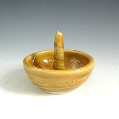 Custom Made Pottery Engagement Ring Holder In Golden Yellow