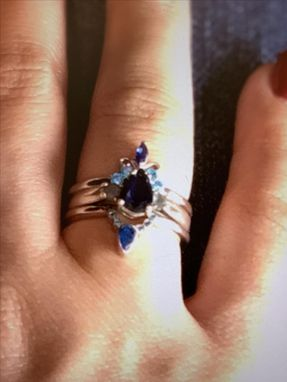 Custom Made 18k Fleur De Lis Sapphire And Aquamarine Statement Ring