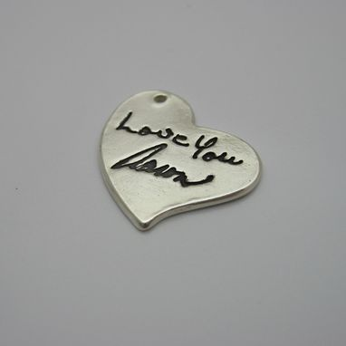 Custom Made Personalized Silver Heart Pendant With Your Actual Handwriting, Signature Or Artwork