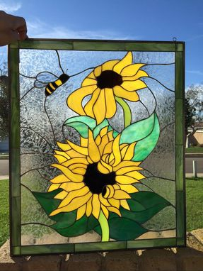 Custom Made Vibrant Sunflowers & Bumblebee Stained Glass Window