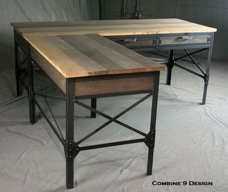 Custom Made Vintage Industrial L Shaped Desk. Reclaimed Wood Office Furniture. Rustic Desk With Return.