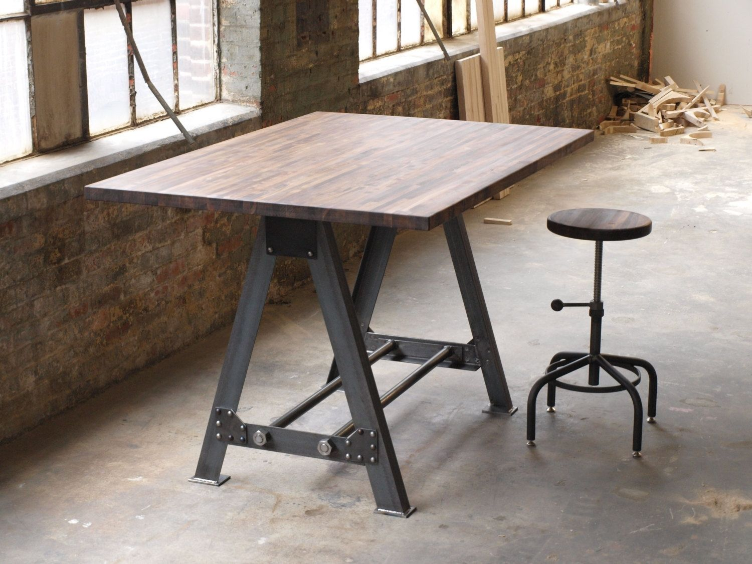 Hand made industrial a frame table kitchen island bar by camposironworks - Industrial kitchen tables ...