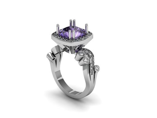 Custom Made Jewelry/Ring/Amethyst Center Stone Ring/Engagement Ring